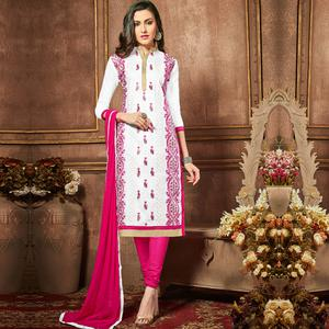 Jazzy White Colored Party Wear Embroidered Cotton Dress Material