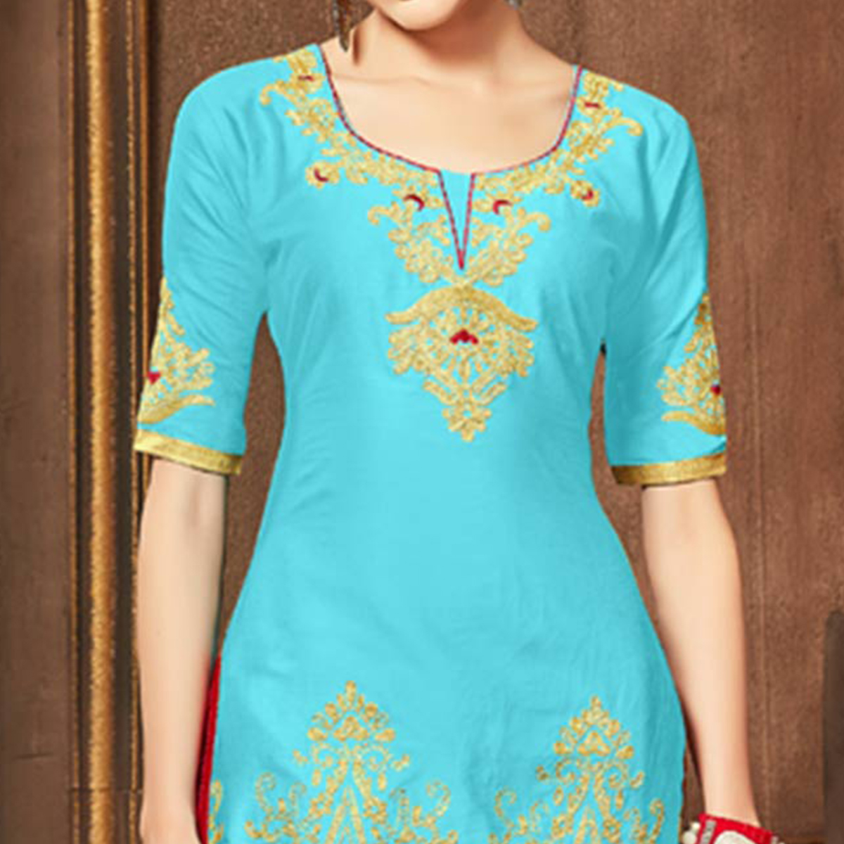 Groovy Sky Blue Colored Party Wear Embroidered Cotton Dress Material