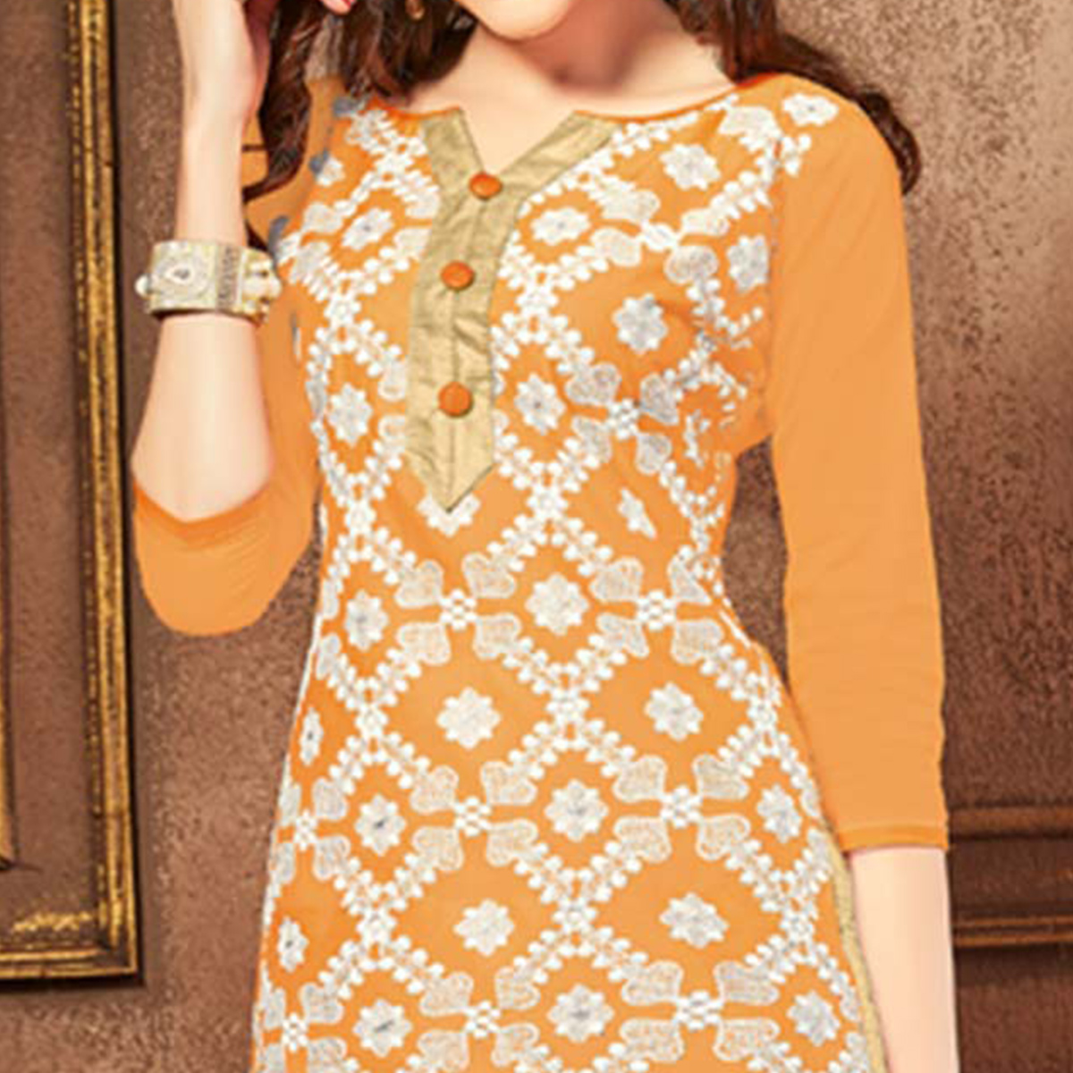 Prominent Orange Colored Party Wear Embroidered Cotton Dress Material