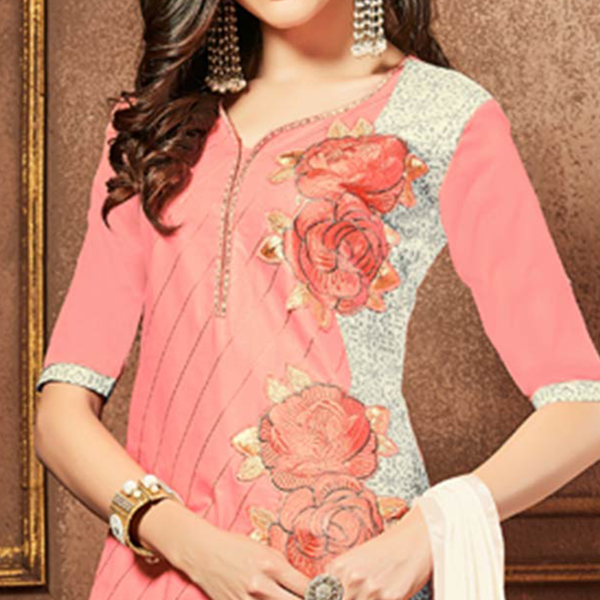 Capricious Pink Colored Party Wear Embroidered Cotton Dress Material