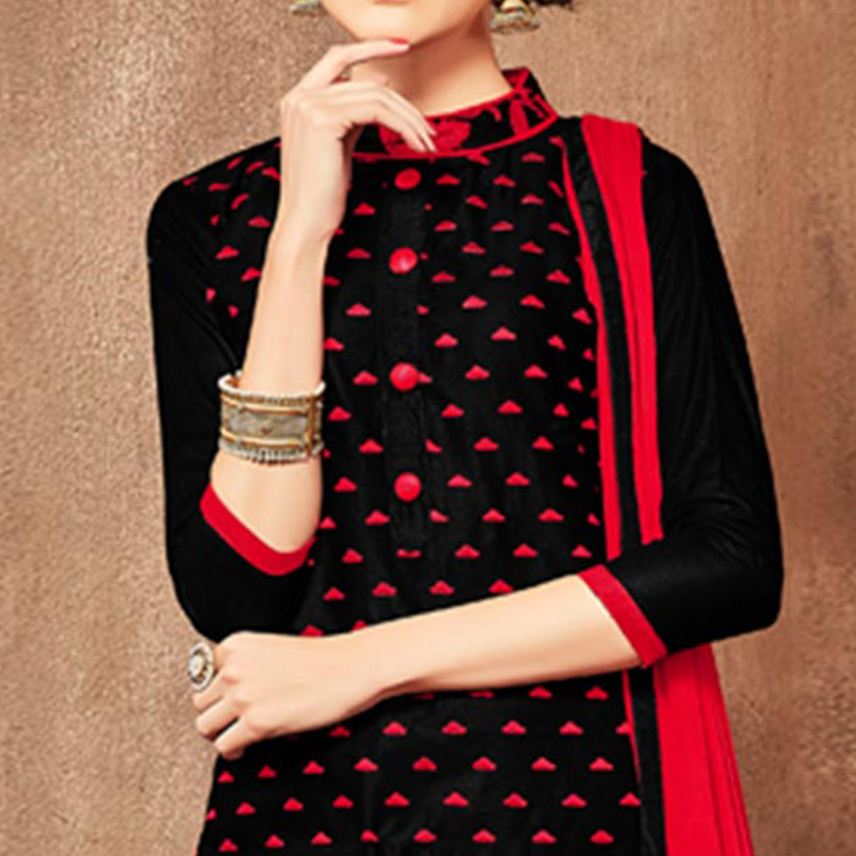 Adorning Black Colored Party Wear Embroidered Cotton Dress Material