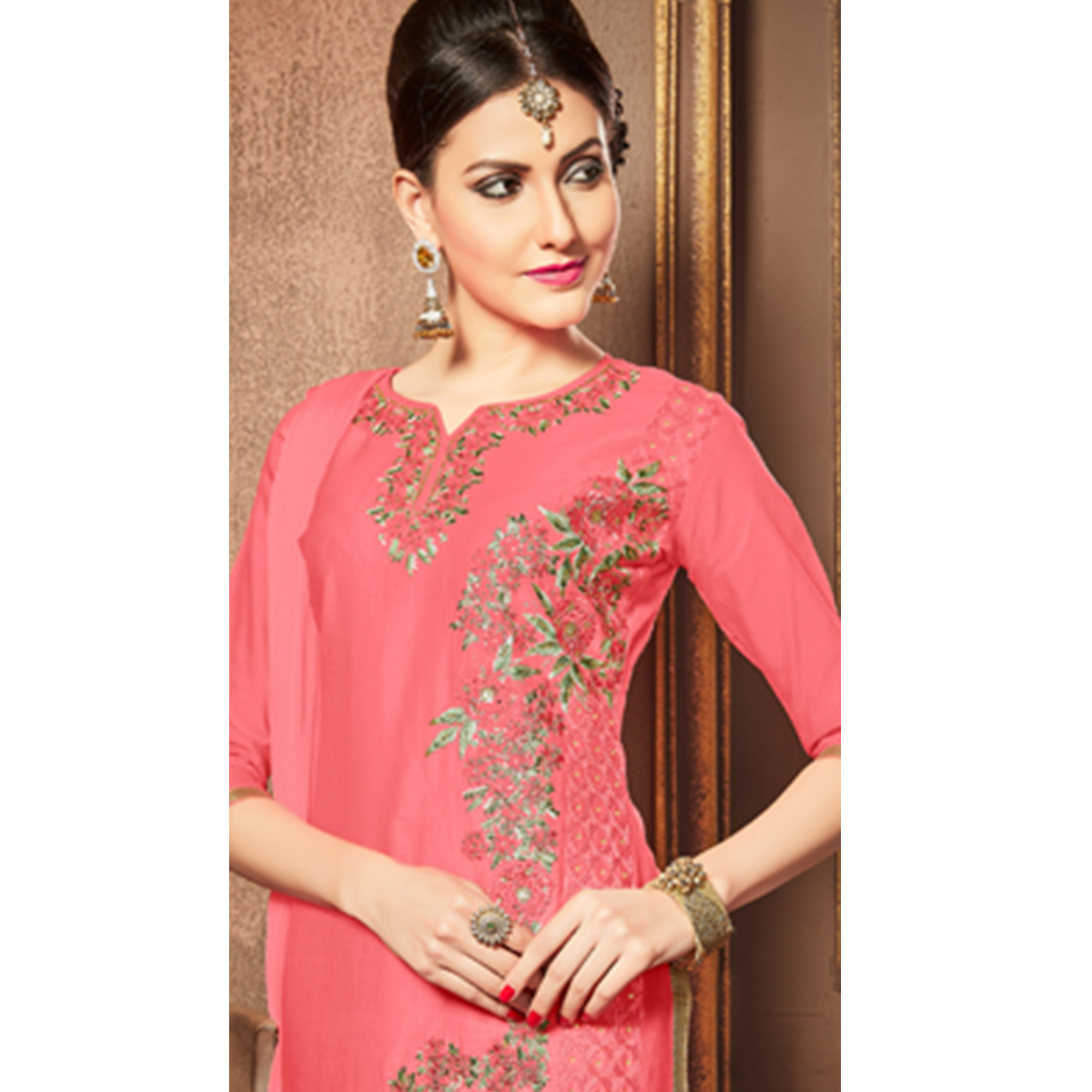 Captivating Pink Colored Party Wear Embroidered Cotton Dress Material