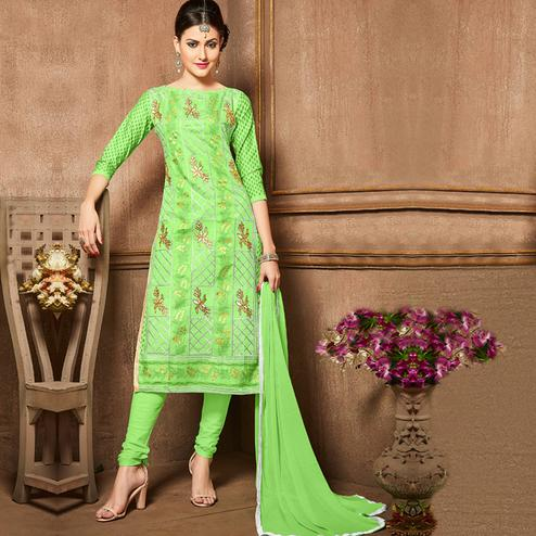 Flirty Green Colored Party Wear Embroidered Cotton Dress Material