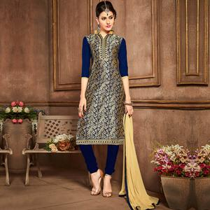 Glowing Navy Blue Colored Party Wear Embroidered Cotton Dress Material