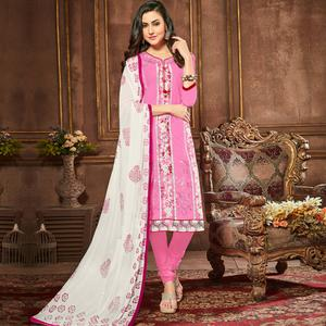 Hypnotic Pink Colored Party Wear Embroidered Cotton Dress Material