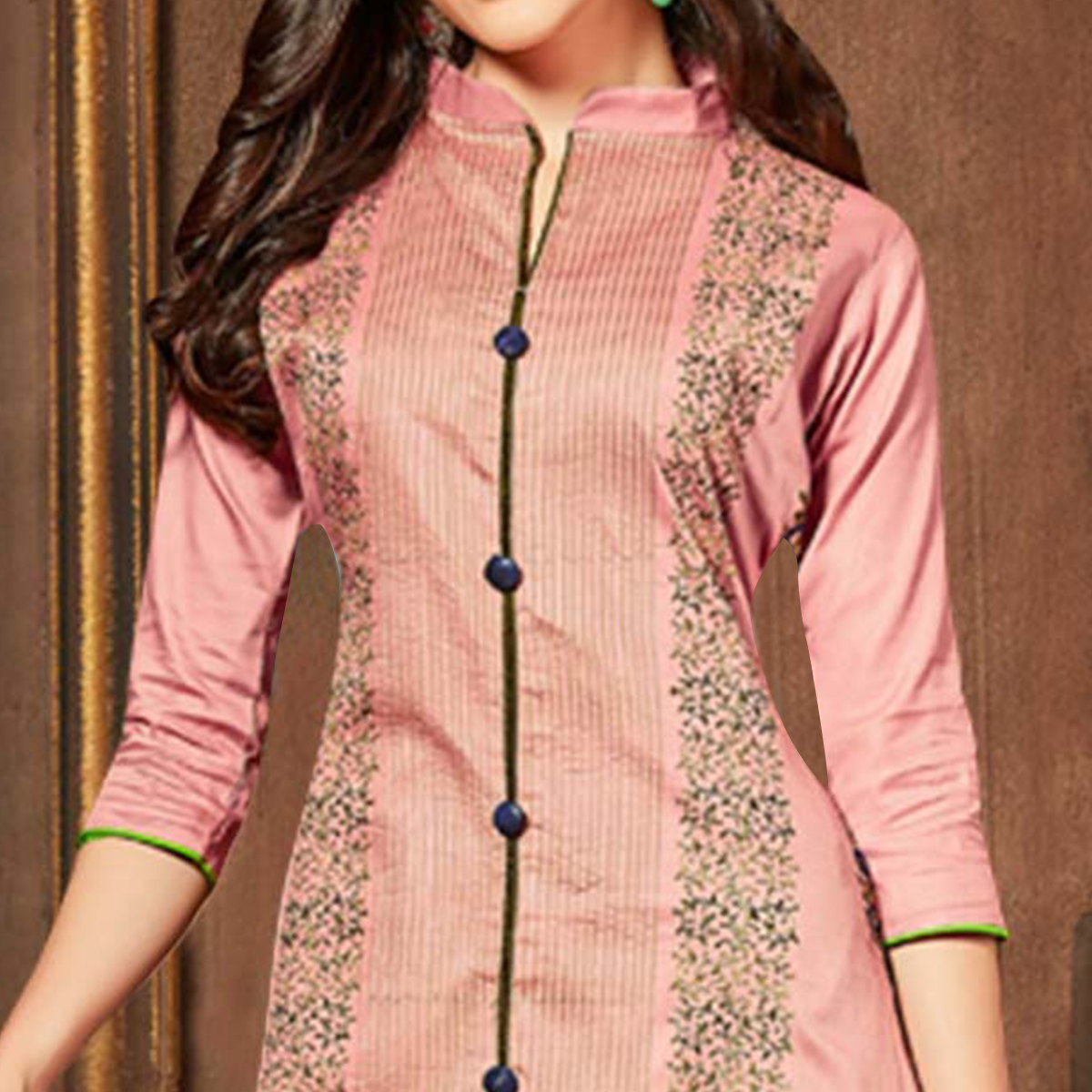 Trendy Peach Colored Party Wear Embroidered Cotton Dress Material