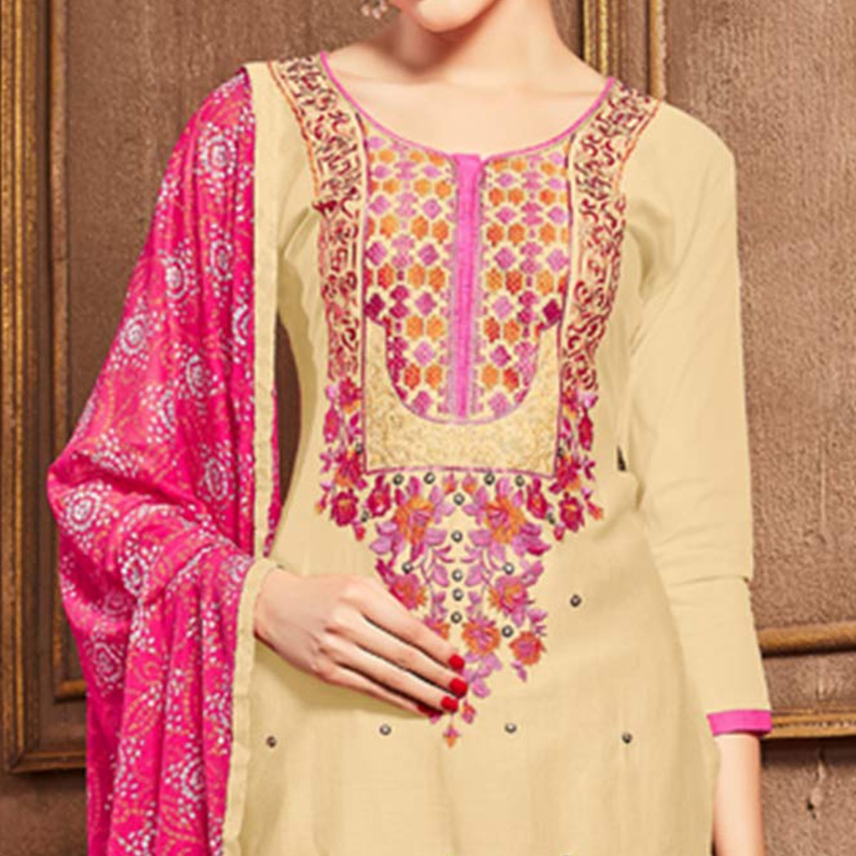 Unique Beige Colored Party Wear Embroidered Cotton Dress Material