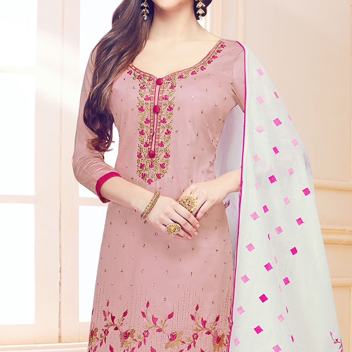 Fantastic Pastel Pink Colored Partywear Embroidered Cotton Dress Material