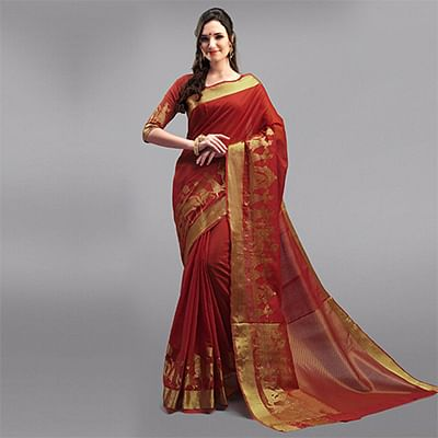 Traditional Red Festive Wear Woven Silk Saree