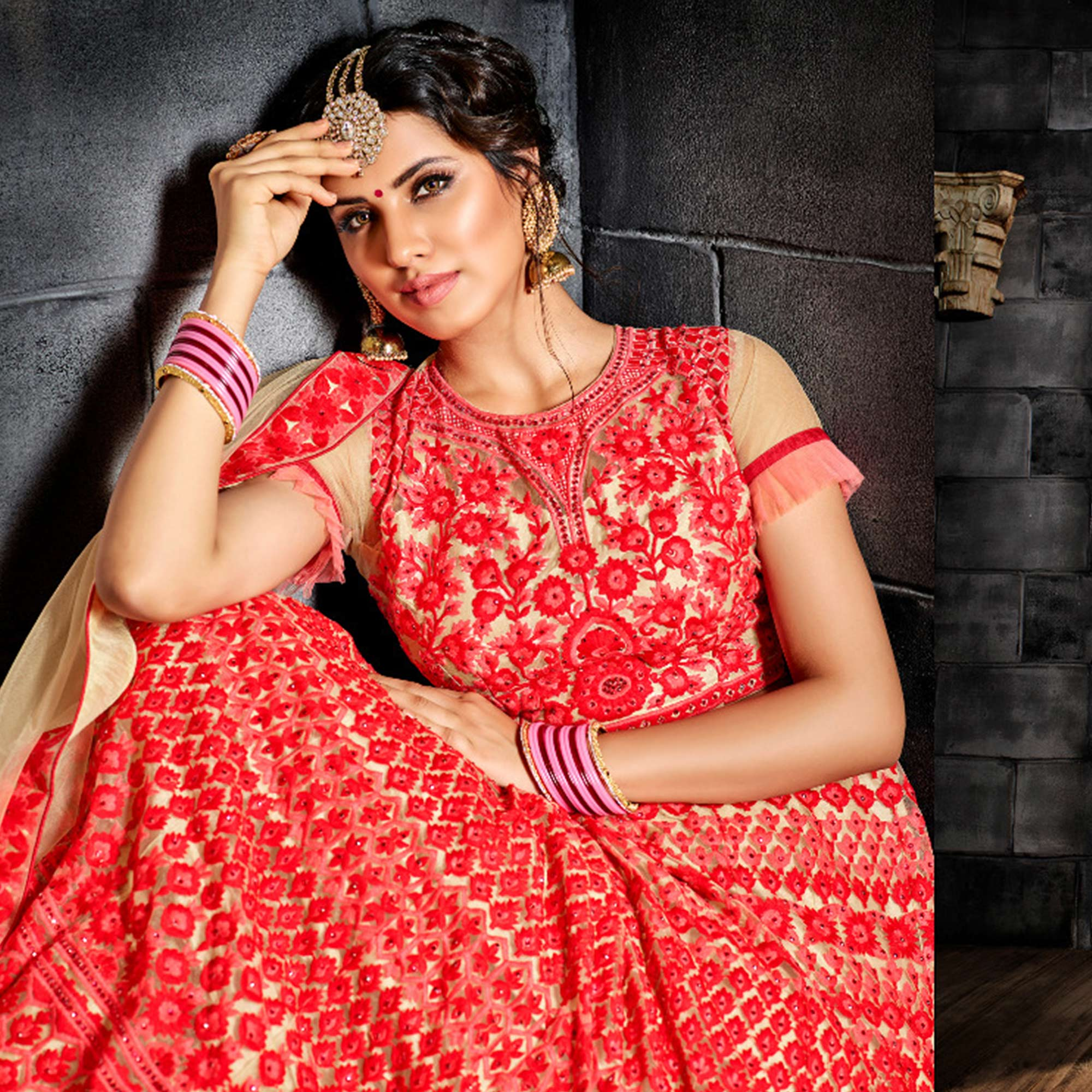 Adorning Red Colored Party Wear Embroidered Net Lehenga Choli