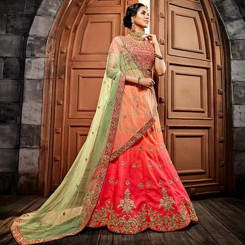 Flirty Peach - Pink Colored Party Wear Embroidered Silk Lehenga Choli