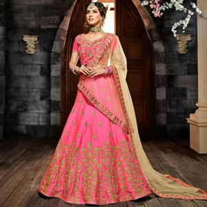 Groovy Pink Colored Party Wear Embroidered Silk Lehenga Choli