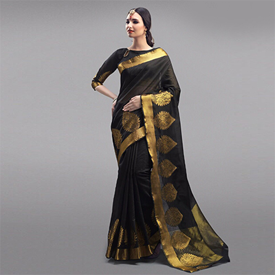 Elegant Black Festive Wear Woven Silk Saree