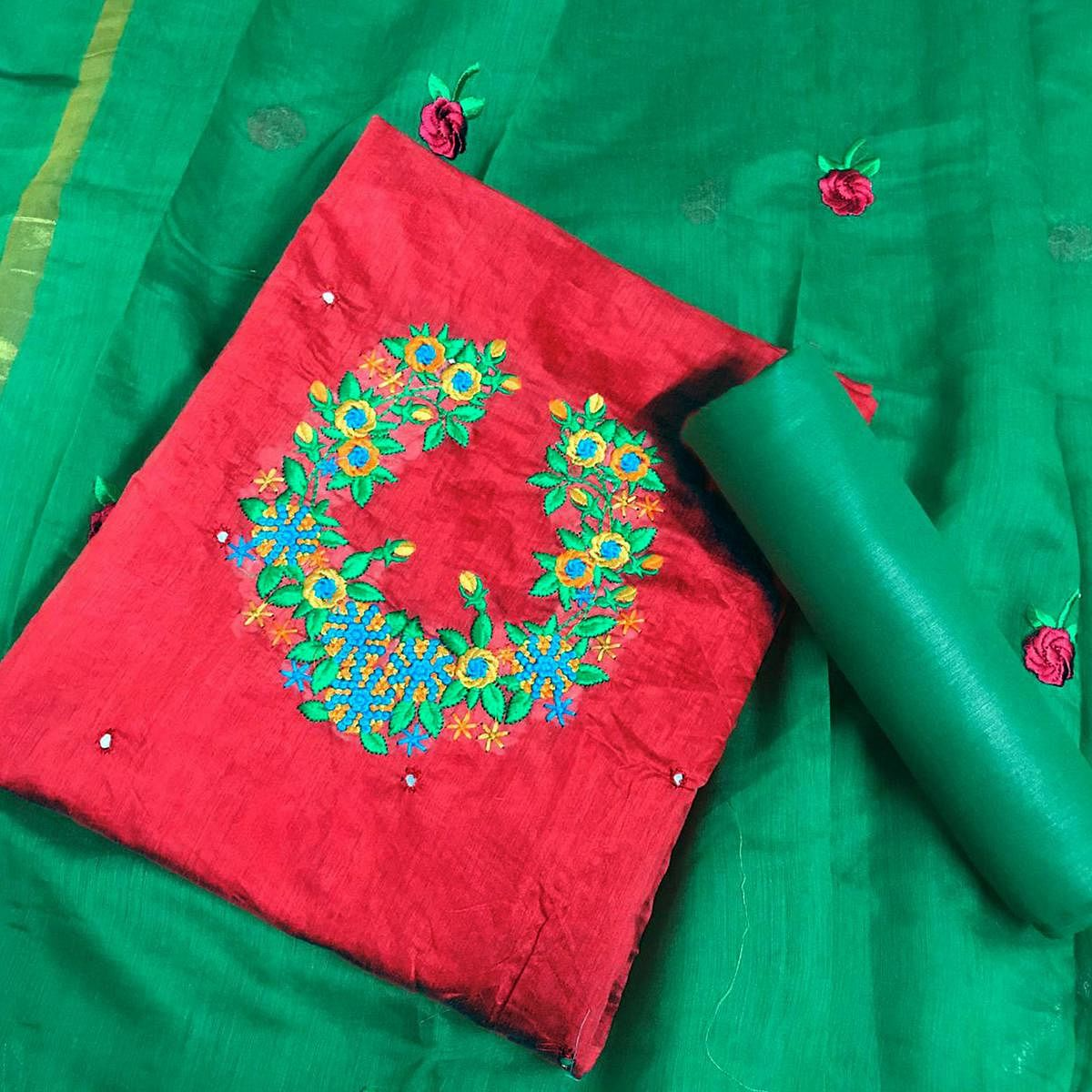 Classy Red Colored Partywear Embroidered Modal Dress Material