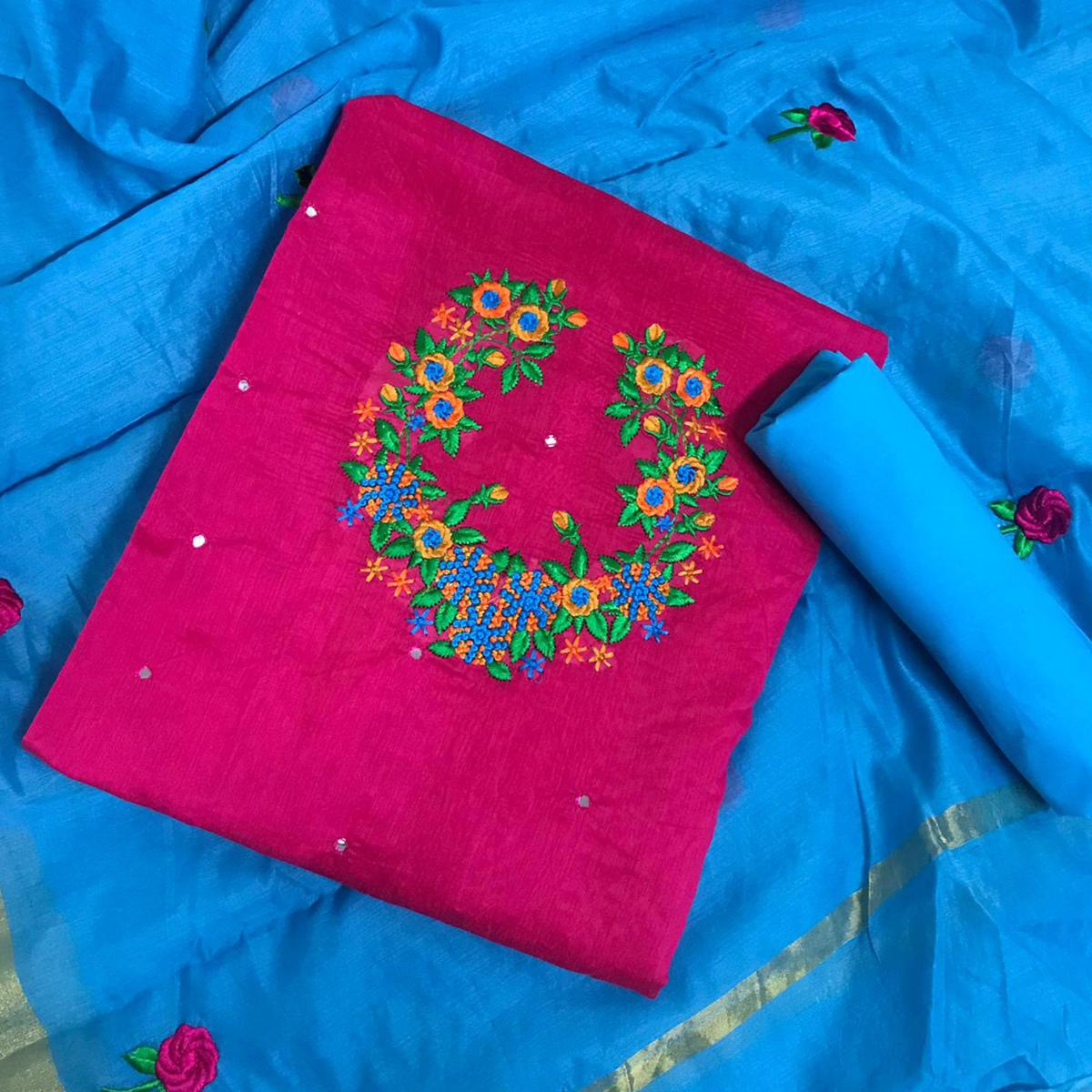 Beautiful Rani Pink Colored Partywear Embroidered Modal Dress Material
