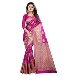 Classy Pink Colored Festive Wear Woven Banarasi Silk Saree