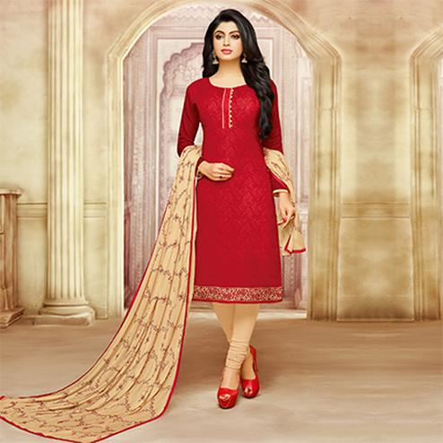 Gorgeous Red Cotton Jacquard Designer Embroidered Dress Material