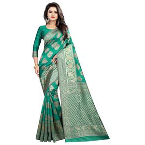 Trendy Turquoise Green Colored Festive Wear Woven Banarasi Silk Saree