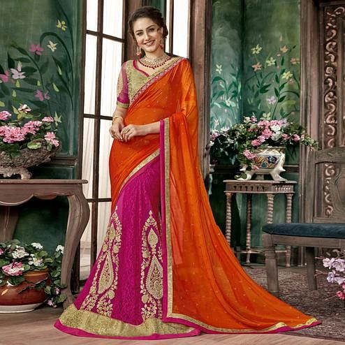 Stunning Pink-Orange Colored Partywear Embroidered Chiffon-Georgette Half-Half Saree
