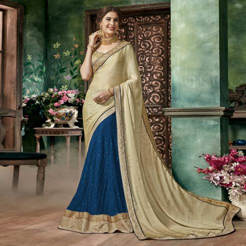 Marvellous Blue-Beige Colored Partywear Embroidered Chiffon-Georgette Half-Half Saree