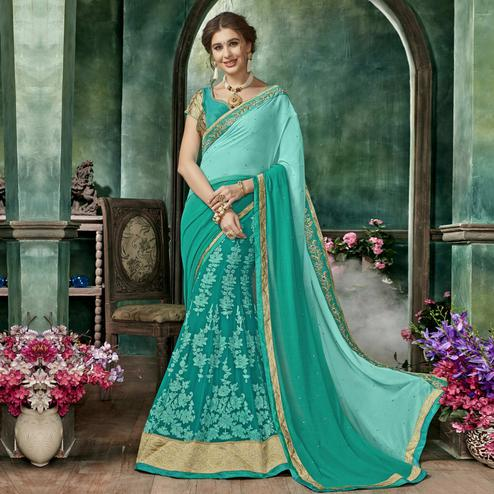 Mesmerising Turquoise Green Colored Partywear Embroidered Chiffon-Georgette Half-Half Saree