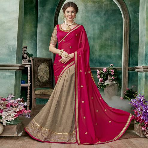 Ravishing Chiku-Deep Pink Colored Partywear Embroidered Chiffon-Georgette Half-Half Saree