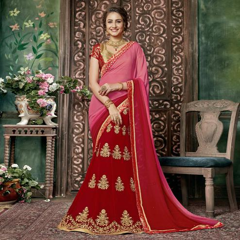 Eye-catching Red-Pink Colored Partywear Embroidered Chiffon-Georgette Half-Half Saree