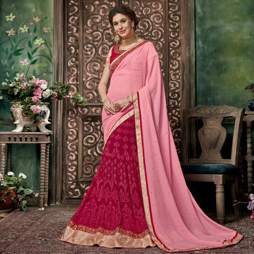 Jazzy Pink Colored Partywear Embroidered Chiffon-Georgette Half-Half Saree