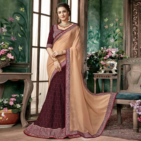 Appealing Dark Brown-Beige Colored Partywear Embroidered Chiffon-Georgette Half-Half Saree