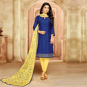 Mesmerising Blue Cotton Jacquard Designer Embroidered Dress Material