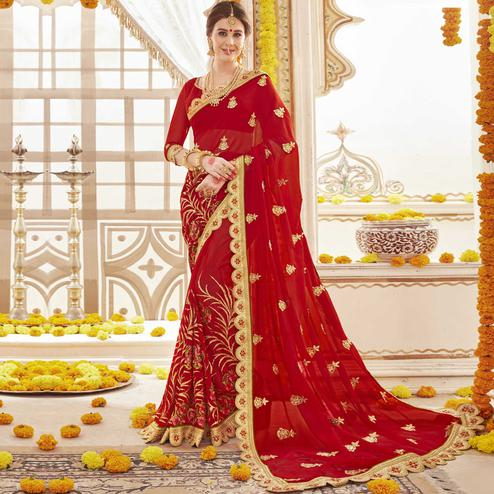 Surpassing Red Colored Partywear Embroidered Faux Georgette Saree