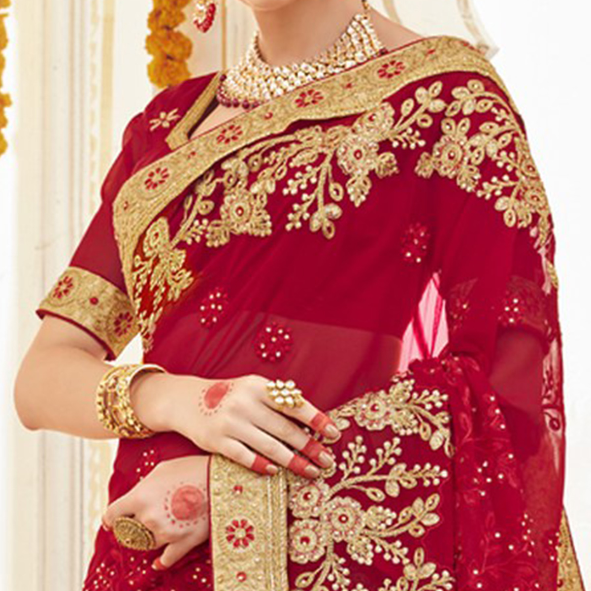 Beautiful Red Colored Partywear Embroidered Faux Georgette Saree