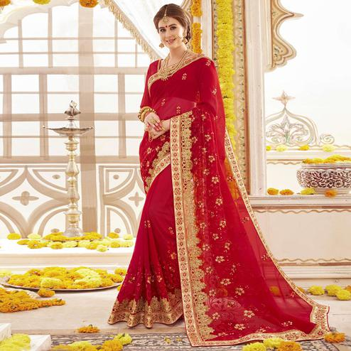 Glorious Red Colored Partywear Embroidered Faux Georgette Saree