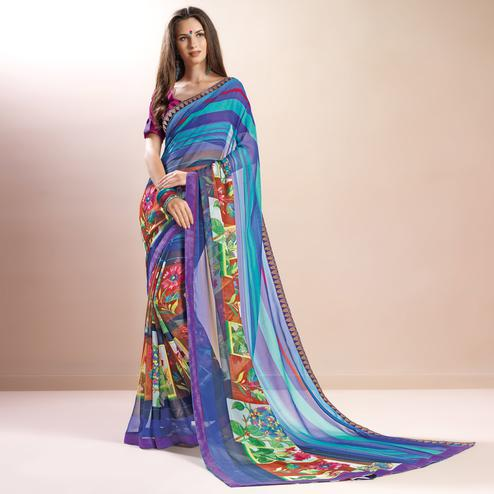 Lovely Blue Colored Casual Printed Faux Georgette Saree