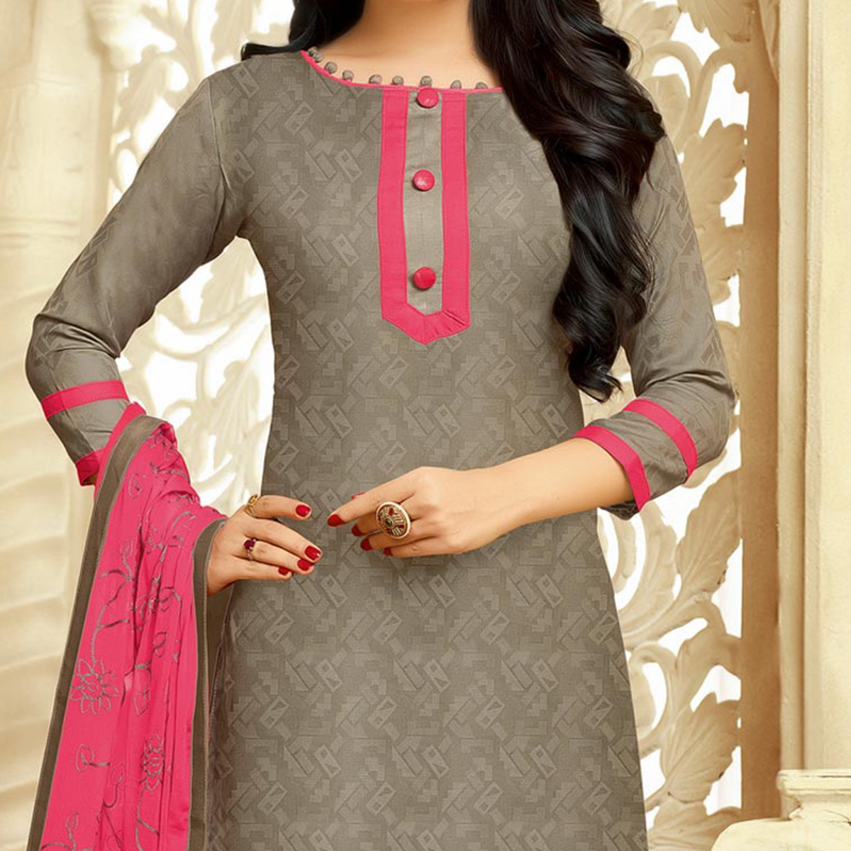 Ravishing Gray Cotton Jacquard Designer Embroidered Dress Material