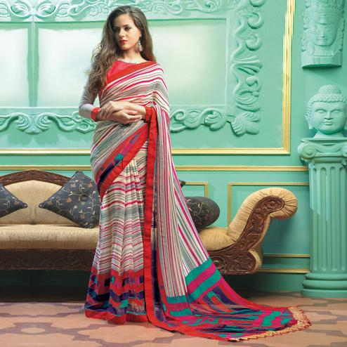 Pretty Multi Colored Casual Printed Faux Georgette Saree