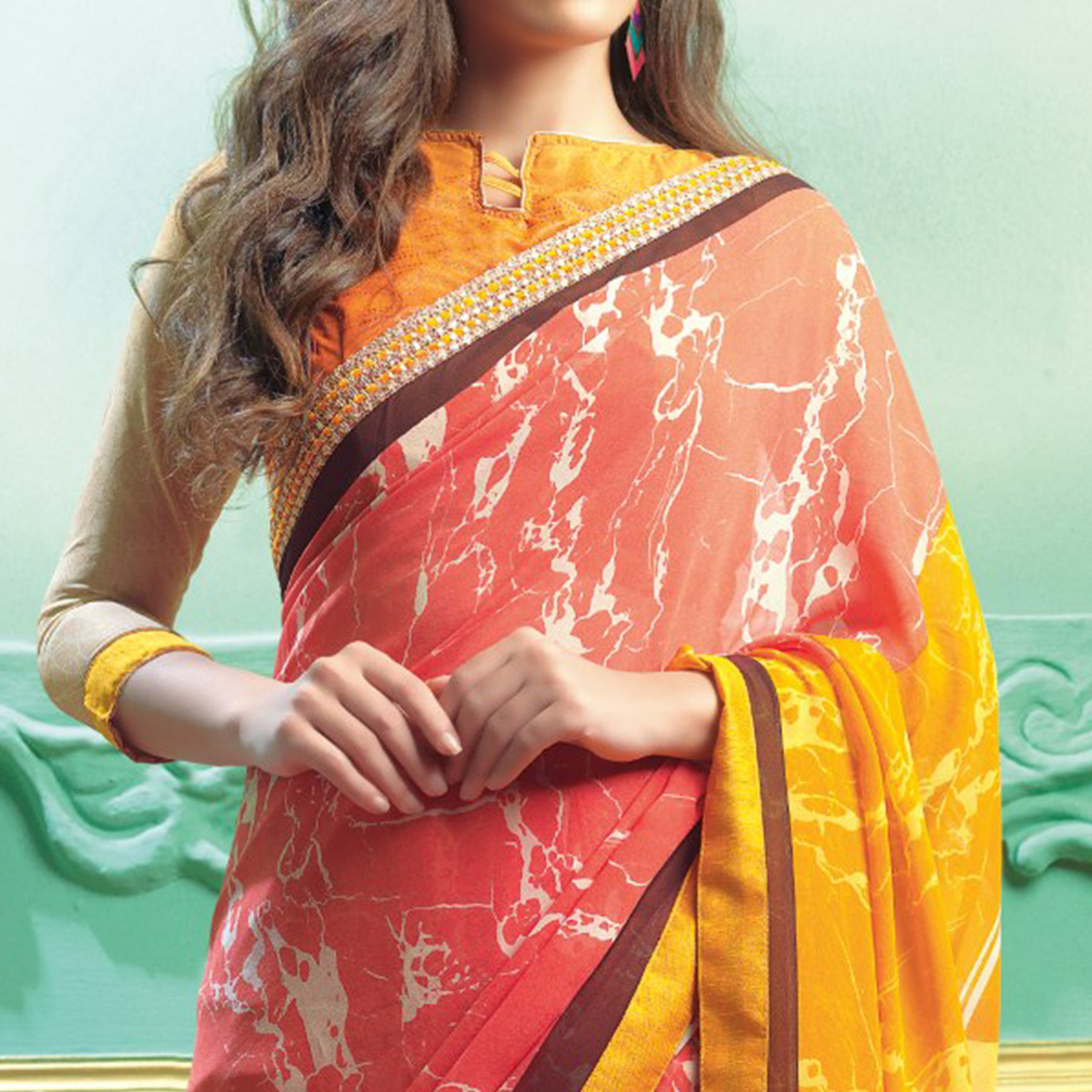 Charming Pink Colored Casual Printed Faux Georgette Saree