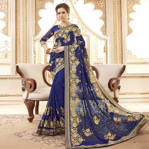 Pleasance Navy Blue Colored Partywear Embroidered Faux Georgette Saree
