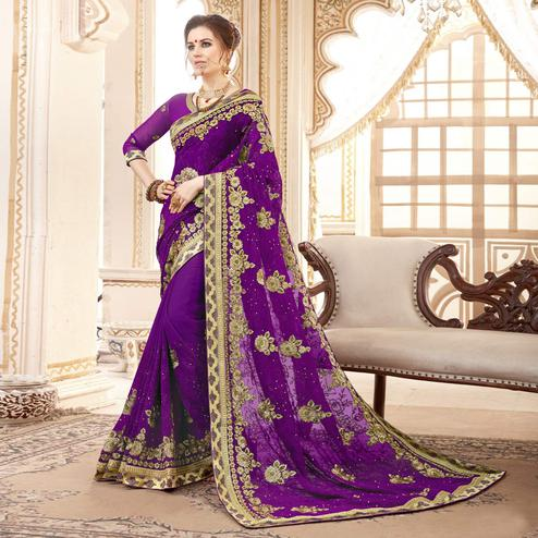 Fantastic Purple Colored Partywear Embroidered Faux Georgette Saree