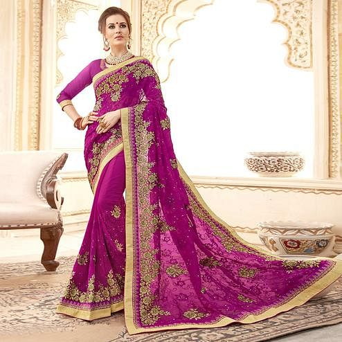 Ideal Violet Colored Partywear Embroidered Faux Georgette Saree