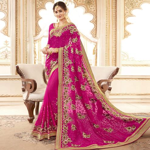 Ideal Pink Colored Partywear Embroidered Faux Georgette Saree