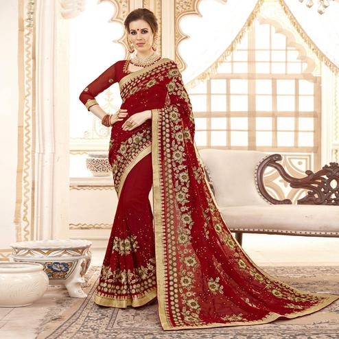 Imposing Maroon Colored Partywear Embroidered Faux Georgette Saree