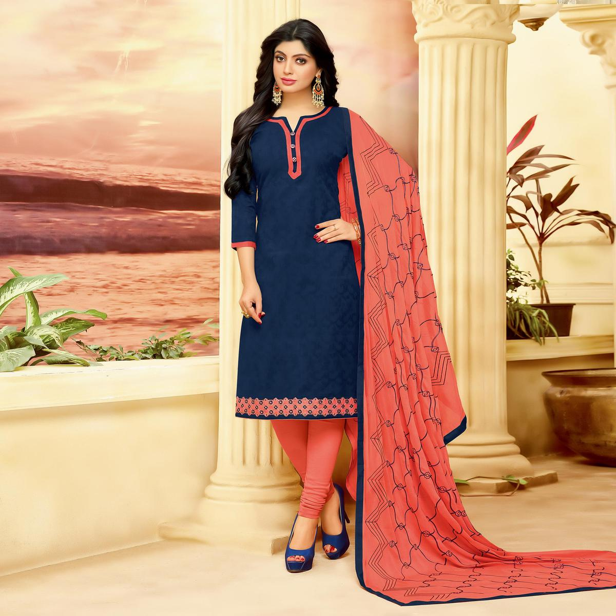 Beautiful Navy Cotton Jacquard Designer Embroidered Dress Material