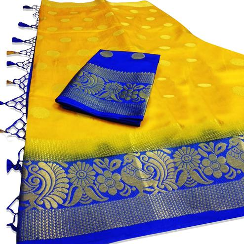 Elegant Yellow Colored Festive Wear Woven Tussar Silk Saree