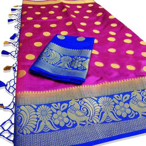 Unique Magenta Pink Colored Festive Wear Woven Tussar Silk Saree