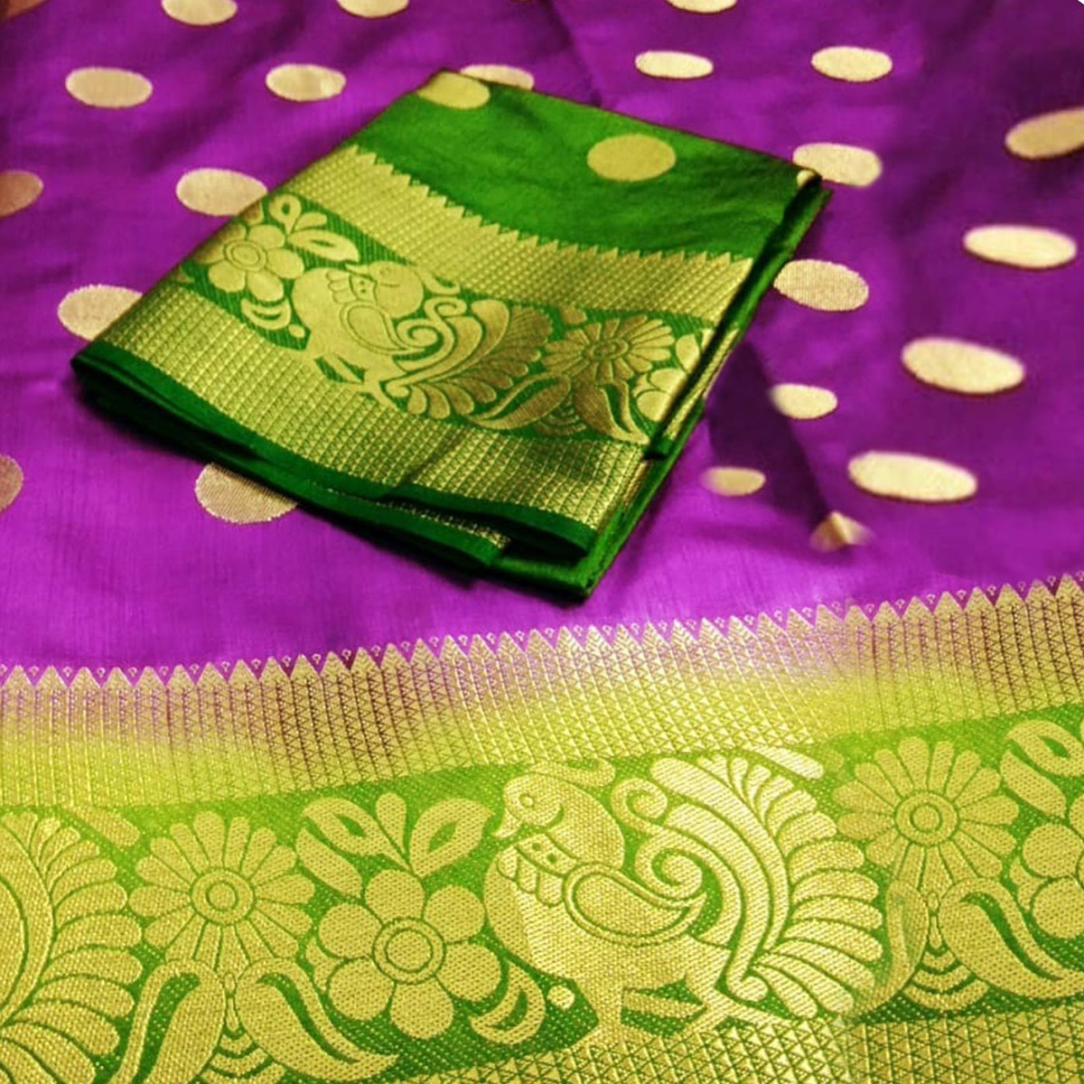 Demanding Purple Colored Festive Wear Woven Tussar Silk Saree