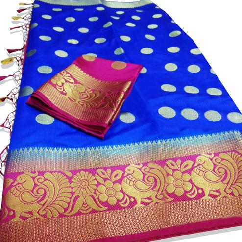 Favorite Blue Colored Festive Wear Woven Tussar Silk Saree