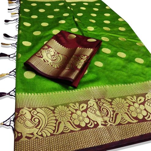 Trendy Green Colored Festive Wear Woven Tussar Silk Saree