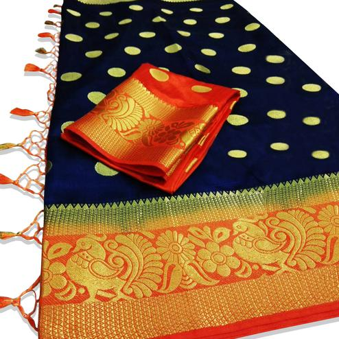 Exceptional Navy Blue-Orange Colored Festive Wear Woven Tussar Silk Saree