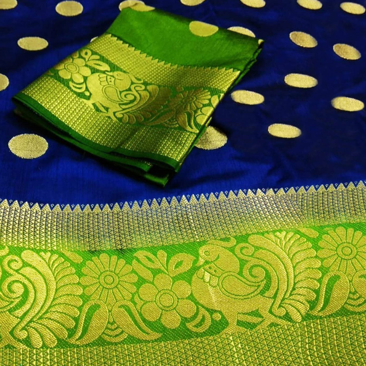 Fantastic Navy Blue-Green Colored Festive Wear Woven Tussar Silk Saree